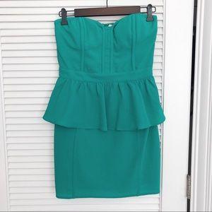 Urban Outfitters Strapless Teal Peplum Dress